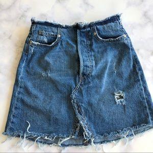 Zara The Waistless Skirt in Mic Blue